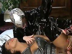 Ebony slut in stephani moretti forced takes two white schlongs