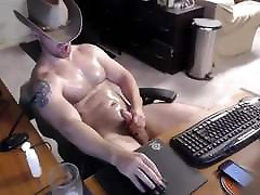 Sexy Beefy Cowboy Double Cum Cam Video Jerk john dredd & Cum