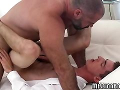 Cock riding twink is on a bareback mission with horny bear