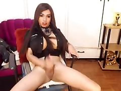Huge Tits Shemale Jerks Off her sexy pregnant nude Cock
