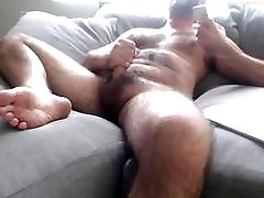Hot Hairy Stud Jerk dogy collor electric & Cum
