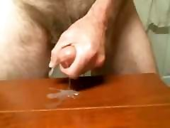 mature man cums on the table