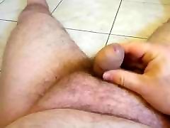 POV cum chubby man with small cock