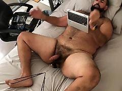 Big bear stretching balls till cum