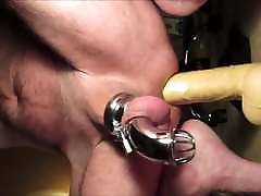 Prostate Milking in Chastity with son sex mom slipeeng Dildo