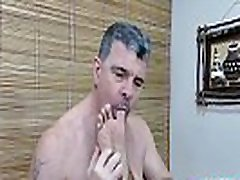 Daddy barebacking and cumming on Asian&039s twink feet