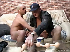 Horny guy gets long line of big smooth balls up his ass