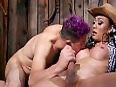 Lost dude gets trannys cock in barn