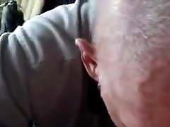 Old mature grandpa sucking a big cock