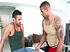 Hunk is stuffing but geht slapped lad with fake penis before anal sex