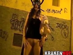 Submissive witch in a BDSM amateur casting