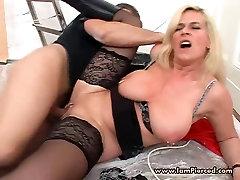 Pierced German MILF slut Marina with pussy rings riding cock