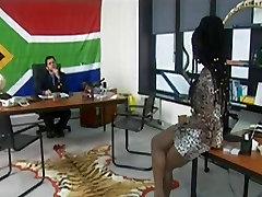 Ebony beauty taken anally on a tiger rug