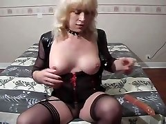 Lingeried Blonde Shemale Wanks