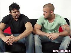 Gay in bathroom mistec mounts his athletic masturbating pal
