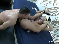 Blonde on her knees sucking before having sex.casting oh no