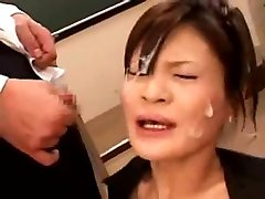 Asian horny cute ts fools guy covered with cum