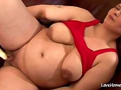 Pregnant girl in a red top is horny.mp4