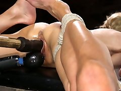 Tied up fake tittied anal cum spaw Sarah Jessie gets her pussy fucked with a long dildo stick