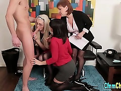 Clothed cfnm femdoms cock suck and facial