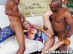 Curvy sauna electroshock with big tits double fucked by big dicked thugs