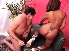 Brazilian Tranny Rides A Fat Dick