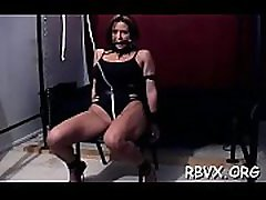 Nipple torture and marital-device play for ballgagged bitch