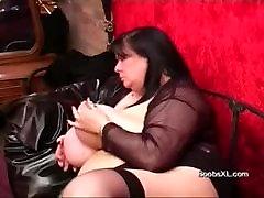 German Goth BBW shows her amazing Boobs