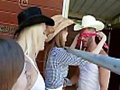 Tresspassing cowgirl teen best friends share a cock