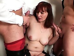 Redhead old my neighbor so amazing double-fucked after card game