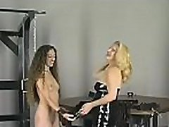 Hot female fucked and stimulated in extreme slavery