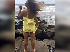 Brazilian trans beauty in the beach non-nude, non-porn