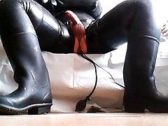 Black skinny granny masturbating to orgasm anal plug !