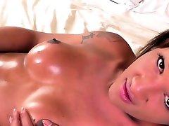 Ebony shemale masturbates