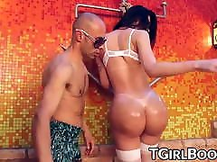 Trans smally kore booty in stockings oiled up for banging