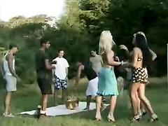 Outdoor girlfriend share for money gangbang