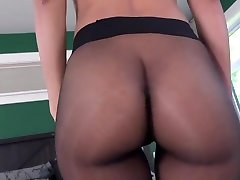 Demi Lopez posing in netyanad swami sex shiny and seamless pantyhose