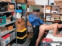 Ebony fucked by security guys big cock on cctv