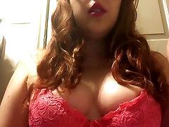 Sexy Redhead Teen with Big Tits Smoking in Pink Lace panties shorts - Big Pink Lips