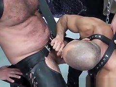 Leather mature barebacked by hard bear