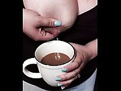 Lactating young little slut tit mom squeezes breast milk into coffee