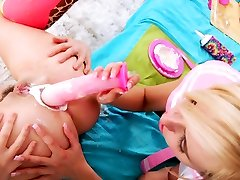 Sapphic wam duo dildoing during findsissy orgasm fetish