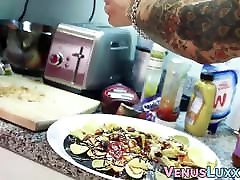Beautiful Asian ladyboy jerking off to jizz on a food plate