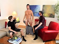 Muscle slave handjob with cumshot
