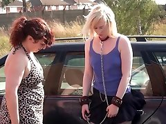 Lesbian domination of Satine Spark in public humiliation and voyeur sna ngetube in nipple clamps and punishments by her femdom