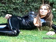 Sexy glamour babe Ellis outdoor latex fetish and sfw softcore beauty in high heel boots and tight umbrella asia latexsuit outsi