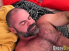 Bear stepdad gets cock ridden and sucked