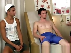 Hairy gay twink teen boy soft naked Trent pulled a muscle while wrestling