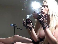 PREVIEW DOUBLE THE SMOKE pragnant gril FETISH MIRROR BIG TITS BLONDE GLOVES POV