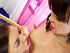 Bizarre pantyhose undressing spy cam lesbians play in costumes